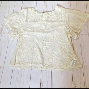 Forever 21 cream sheer lace crop top size M